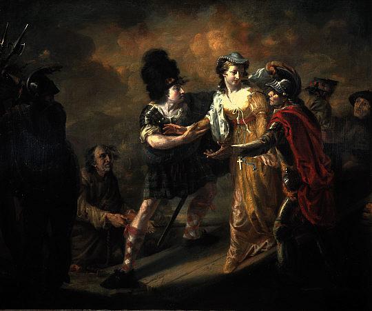 Мария, королева шотландцев, убегающая из замка Лох Левен, 1805-й год. Художник поспешил изобразить шотландца как можно «аутентичнее»
